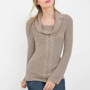 NWT‼Cable-front Cowlneck pullover sweater